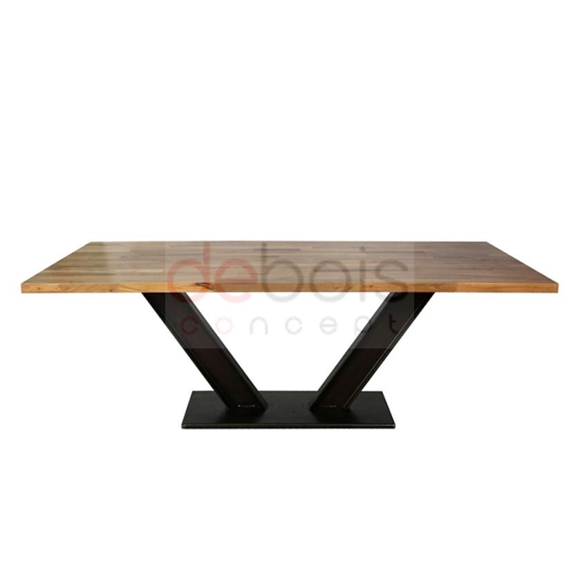 Mesa hierro doble t y madera maciza debois muebles y - Mesas de madera hechas a mano ...
